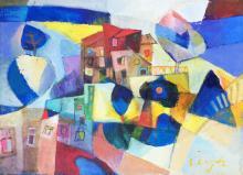 Mjlienko Bengez - Olio su tela - La casa con balcone