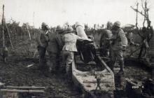 Batteria italiana in azione sul fronte del Piave, primavera 1918. Archivio Fotografico Museo della Terza Armata