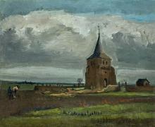 La vecchia torre di Nuenen con contadino che ara