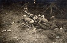 Postazione mitragliatrice italiana fronte del Piave. Archivio Fotografico Museo della Terza Armata